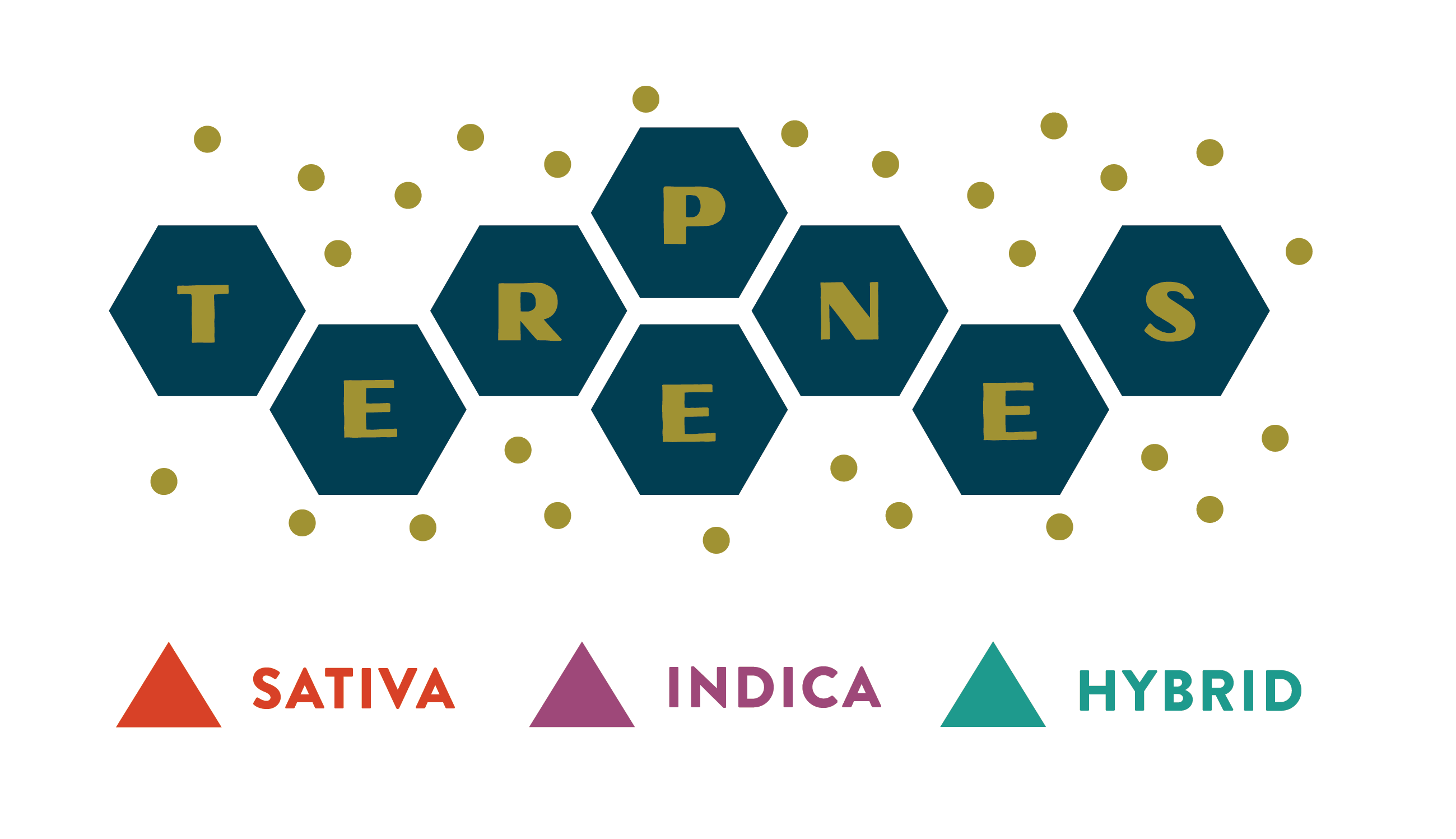 Terpene diagram header: Sativa, Indica, Hybrid